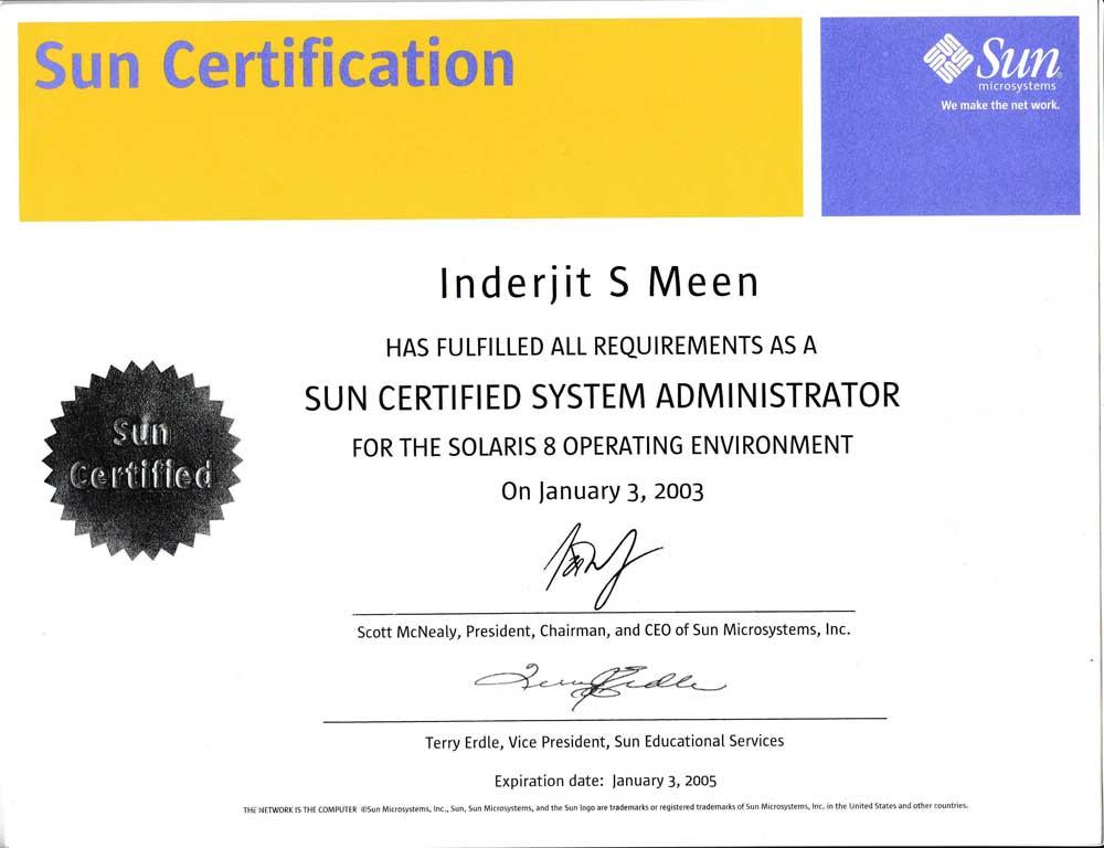 Sun-solaris-certificate