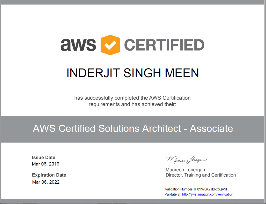aws certification inder singh