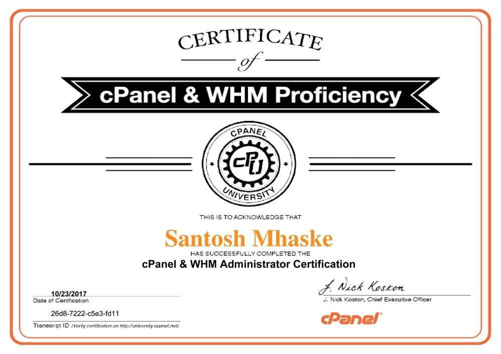 certification-cPanel-&-WHM-Administrator-Certification-Santosh